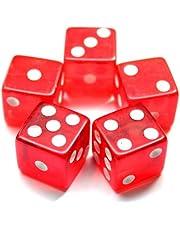 19mm Casino Craps Dobbelsteen - Set van 5 Kristal Rood