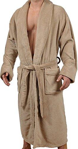(Wanted Men's Lightweight Plush Fleece Shawl Collar Kimono Robe (Tan,)
