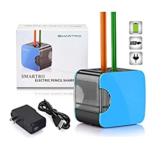 SMARTRO Small Electric Pencil Sharpener for No.2 2H Colored Charcoal Pencil with AC Adapter Best Battery Operated USB/Adapter Powered