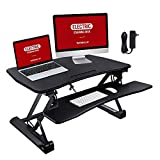 TaoTronics 36' Electric Standing Desk, Adjustable Stand up Desk Converter, Sit to Stand Desk Riser with Germany Made Motor, Dual Tier Monitor Stand with Noiseless Design - No Tools Required