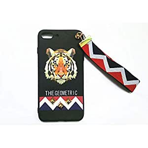 Soft Cartoon Tiger Rivet Full Cover Phone Case with Wrist Strap for iPhone 7/8 Plus