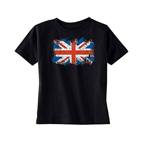 Atilt Distressed British Flag TODDLER T-shirt Patriotic Union Jack Kids Black 4T -