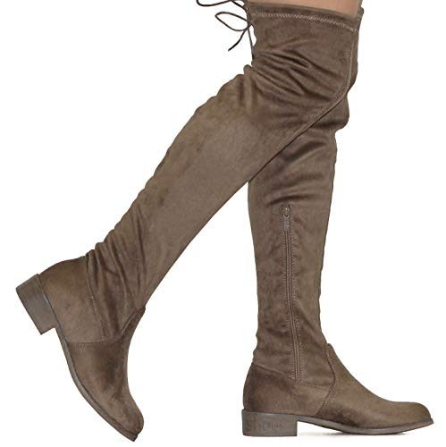 (MVE Shoes Women's Fashion Comfy Vegan Suede Block Heel Side Zipper Back Lace Thigh High Over The Knee Boots Taupe Size 10)