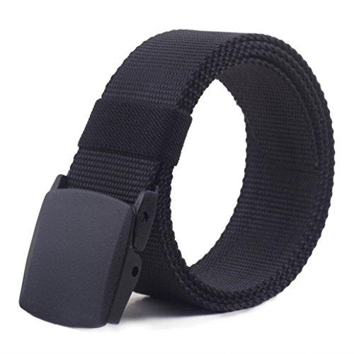 48'' Breathable Belt For Men Military Plastic Buckle Nylon Canvas Adjustable Strong Waist Web Non-metal Casual Belt (Black)