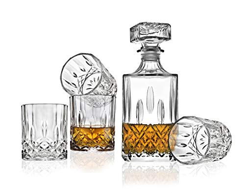 Godinger Whiskey Decanter and Tumbler Glasses Bar Set - for Scotch Whisky Wine or Vodka