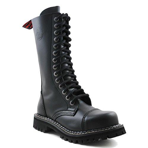Angry Itch - 14-agujeros botas goticas punk de cuero nero con ziper - Numéros 36-48 - Hecho in EU!
