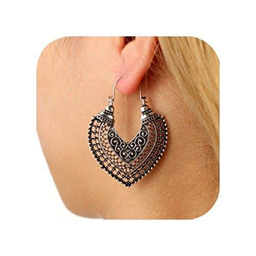 Cyntan Dangling Earrings Bohemian Ethnic Style Heart Shaped Dangle Earrings Mexico Women Earring Statement Vintage Jewelry Antique Silver (Mexico Antique)