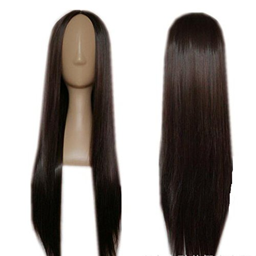 [Dongcrystal Carve Long Straight Hair Dark Brown Wig Party Wig] (Costume Long Brown Hair)
