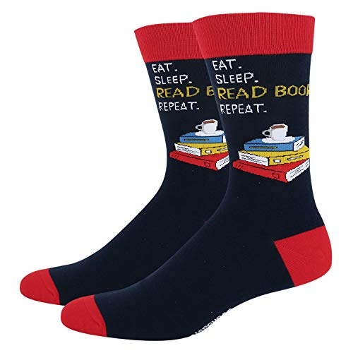 Men's Crazy Funny Teacher Crew Socks Novelty Book Bibliophile School Dress Socks