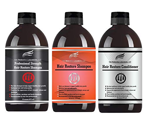 (2019 HAIR RESTORATION LABORATORIES' REGULAR & PROFESSIONAL STRENGTH DHT BLOCKING HAIR LOSS SHAMPOOS & CONDITIONER SET-OVER 30 DHT BLOCKERS; THE MOST EFFECTIVE SHAMPOO/CONDITIONER SET FOR MEN & WOMEN)