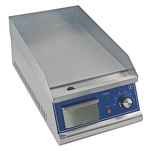 TAIMIKO Commercial Electric Griddle Flat Top Grill HotPlate Kitchen Grill CounterTop Stainless Steel Thermostatic Control 1500W 12