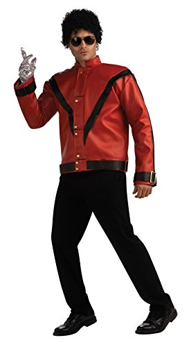 Michael Jackson Halloween Mask (UHC Men's Michael Jackson Jacket Deluxe Thriller Jacket Fancy Dress Costume, Large (42-44))