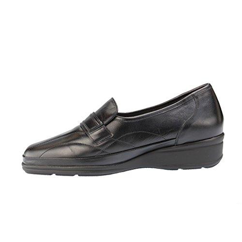 WALDLÄUFER - Moni - Damen Slipper - Schwarz XXL Schuhe in Übergrößen , Farben:Schwarz;Größe:39;Weite:M