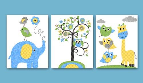 Kinderzimmer Poster Set Giraffe und Elefant (DIN A4 Matt): Amazon.de ...