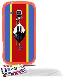 """Carcasa Flexible Ultra-Slim SAMSUNG GALAXY S DUO de exclusivo motivo [Bandera Swazilandia] [Naranja] de MUZZANO  + 3 Pelliculas de Pantalla """"UltraClear"""" + ESTILETE y PAÑO MUZZANO REGALADOS - La Protección Antigolpes ULTIMA, ELEGANTE Y DURADERA para su SAMSUNG GALAXY S DUO"""