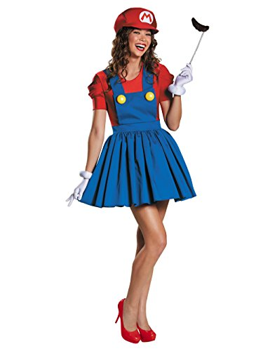 Disguise Women's Mario Skirt Version Adult Costume, Red/Blue, Medium]()