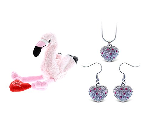 - Mozlly Value Pack - Dollibu Pink Flamingo I Love You Valentines Stuffed Animal AND Aqua Jewelry Pink Heart Sparkling Necklace AND Earrings (3 Items)