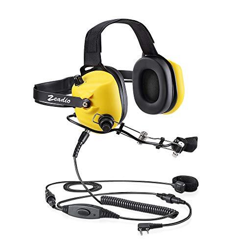 Zeadio Military Noise Cancelling Overhead Headset Earpiece for 2 PIN Kenwood Baofeng Puxing Quansheng Weierwei Wouxun HYT TYT Radio - Yellow