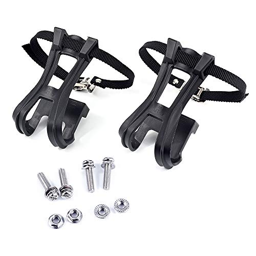 (Esnow 1 Pair Toe Clips with Strap Belts Cycling MTB Road Mountain For Bicycle)