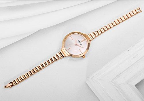 ETEVON Women's Quartz Simple Rose Gold Watch with Slim Bracelet, Fashion Watches for Women Ladies