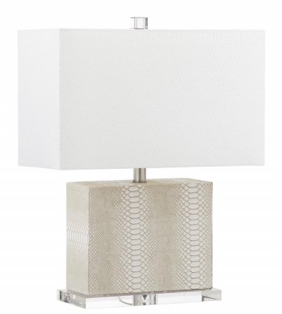 Safavieh Lighting Collection Delia Faux Snakeskin Cream 20.5-inch Table - 20th Desk Lamp Century