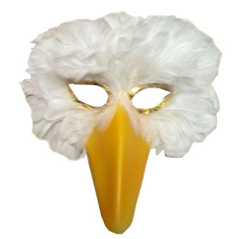 [SACASUSA (TM) White Feather Bird Mask with yellow beak] (Bird Halloween)