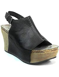 Womens Vegan Leather Peep-Toe Adjustable Ankle Strap Wedge Sandals Hester-14