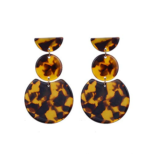 Leopard Acrylic Dangle Earrings Women Geometric Round Statement Drop Earrings Jewelry Tortoise Shell -