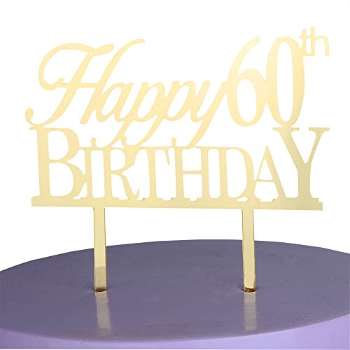 LOVELY BITON Gold Happy 60th Birthday Cake Topper Shining Numbers Letters for Wedding, Birthday, Anniversary, Party.