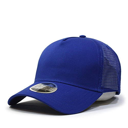 (Vintage Year Plain Cotton Twill Mesh Adjustable Snapback Trucker Baseball Cap (Royal))