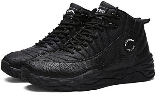 JiYe Männer im Freien Leistung Basketball Schuhe Mode Turnschuhe Schwarz