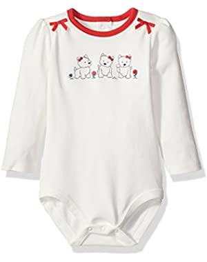 Baby Girls' Long-Sleeve Bodysuit with Bow Detail