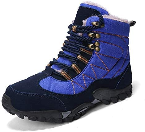 ステッチカラープラスベルベットの暖かい雪のブーツラウンドヘッドの低ヒールストラップ防水性と耐寒ファブリックノンスリップ摩耗ラバーソール暖かい綿のブーツ (色 : 青, サイズ : 27.5 CM)