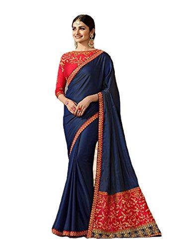 ood Saree Party Wear Pakistani Designer Sari Wedding, Saree for Womens (Navy Blue) ()