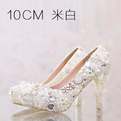 VIVIOO Customized Higher 10Cm Shoes Wedding Pure Pink Diamond Super Beige Heel Red High 7 Sandals Women Crystal Pearl Waterproof Beige Heeled Shoes White Prom Shoes TH1wrT