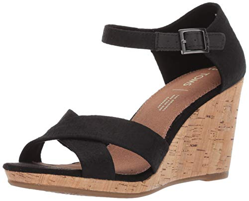 TOMS Women's Sienna Platform, Black Scattered Woven, 9.5 B Medium - Sandals Cork Woven