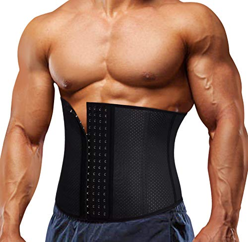 TAILONG Slimming Underwear Body Shaper Waist Trainer Corset for Men Weight Loss Abdomen Compression Belt (Black, L)
