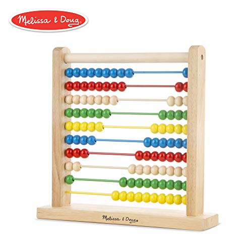 Coin Counting Game - Melissa & Doug Abacus Classic Wooden Toy, Developmental Toy, Brightly-Colored Wooden Beads, 8 Extension Activities, 11.9