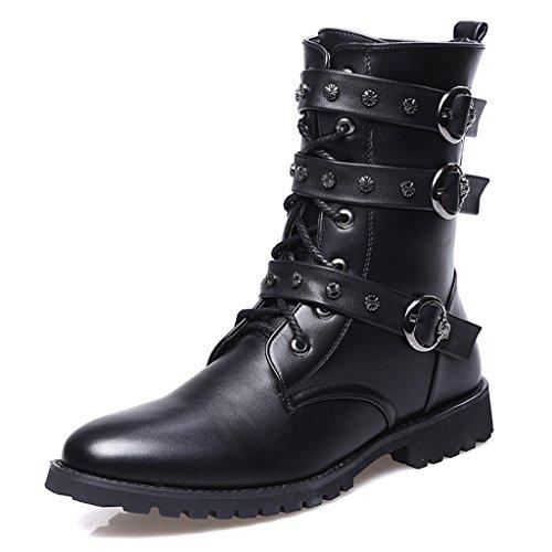 Santimon Men's Boots Retro Studded Rivet Buckle Zipper Western Motorcycle Combat Boot Heavy Metal Punk Rock Black