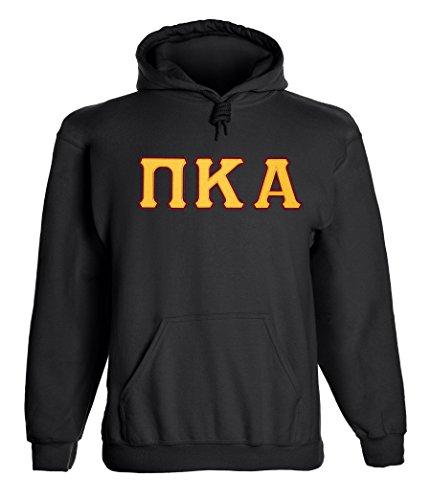 Pi Kappa Alpha Twill Letter Hoody Black Gold Maroon Medium Black Tackle Twill Hoody Sweatshirt