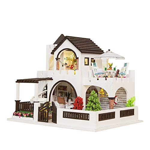 Gbell  Miniature House Lights,3D Wooden DIY Mini Doll Theater Furniture Kits with LED Light Handmade Doll House Models Pretend Playhouse Creative Princess Room Decorate Gift for Girls
