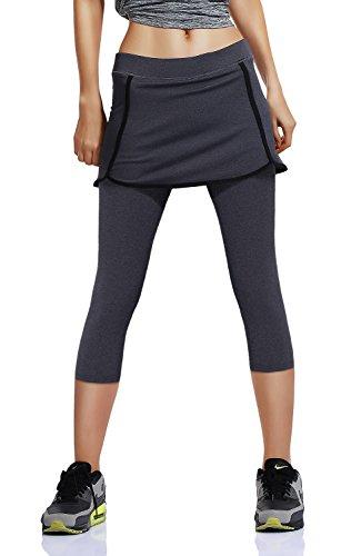 HonourSport Women's Running Skirted Capris Leggings Athletic Tennis - Tennis Suit