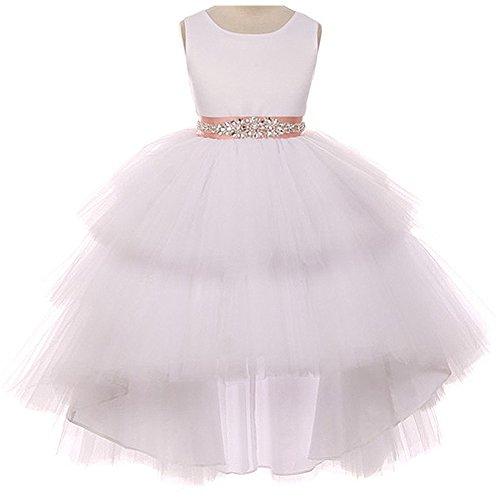 Rhinestone Bodice (CrunchyCucumber Little Girls Satin Bodice Hi-Low Layers Tulle Skirt Rhinestones Satin Sash Flower Girl Dress White Blush - Size 4)