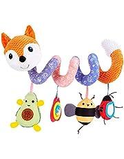Lubudup Babyskål leksak, baby aktivitetsspiral kedja barnvagn leksak spiral barnvagnskedja med klockklocka för att hänga på barnvagn, barnstol, säng