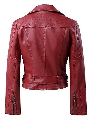 Rivet Studded Wine Mooncolour Leather Punk Moto Power Bomber up Jacket Womens Faux Zip Red Shoulder cBctHx