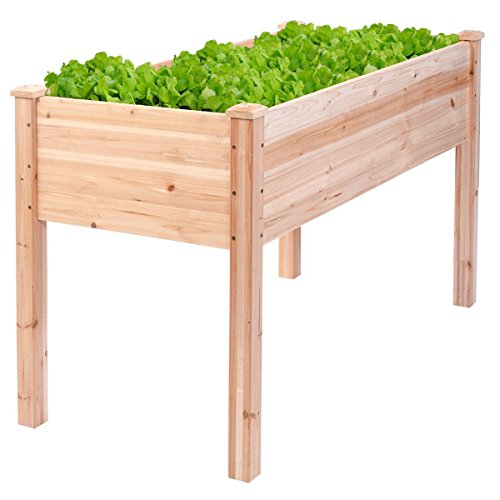 Giantex Wooden Raised Vegetable Garden Bed Elevated Planter Kit Grow Gardening Vegetable (48.5