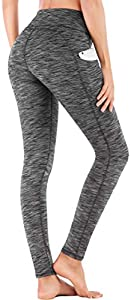 IUGA High Waist Yoga Pants with Pockets, Tummy Control, Workout Pants for Women 4 Way Stretch Yoga Leggings with Pockets (Space Dye Gray, Medium)