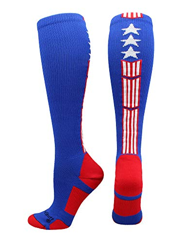MadSportsStuff Patriot Stars and Stripes USA Flag Over The Calf Socks (Royal/Red/White, Large)