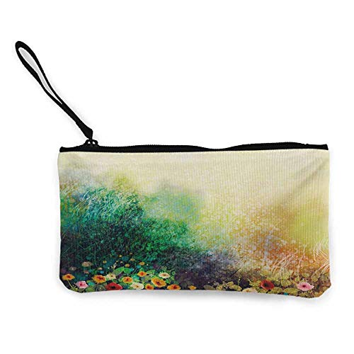 Coin pouch Flower,Vibrant Colored Flower Bed on Valley in Fall Season with Shady Faded Murky Print,Green Mustard W8.5