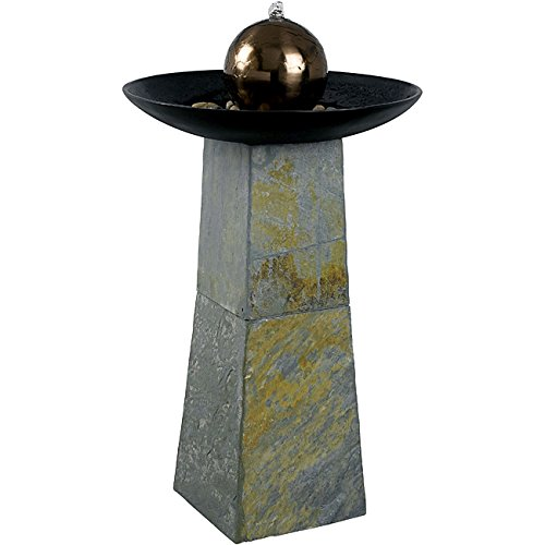 Design Craft Pontus Indoor/Outdoor Floor Fountain with Natural Green Slate Base In Copper Finish Ball
